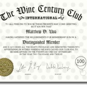 Wine Century Club Certificate
