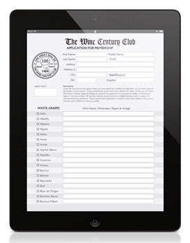 Ipad Wine Century Club Application